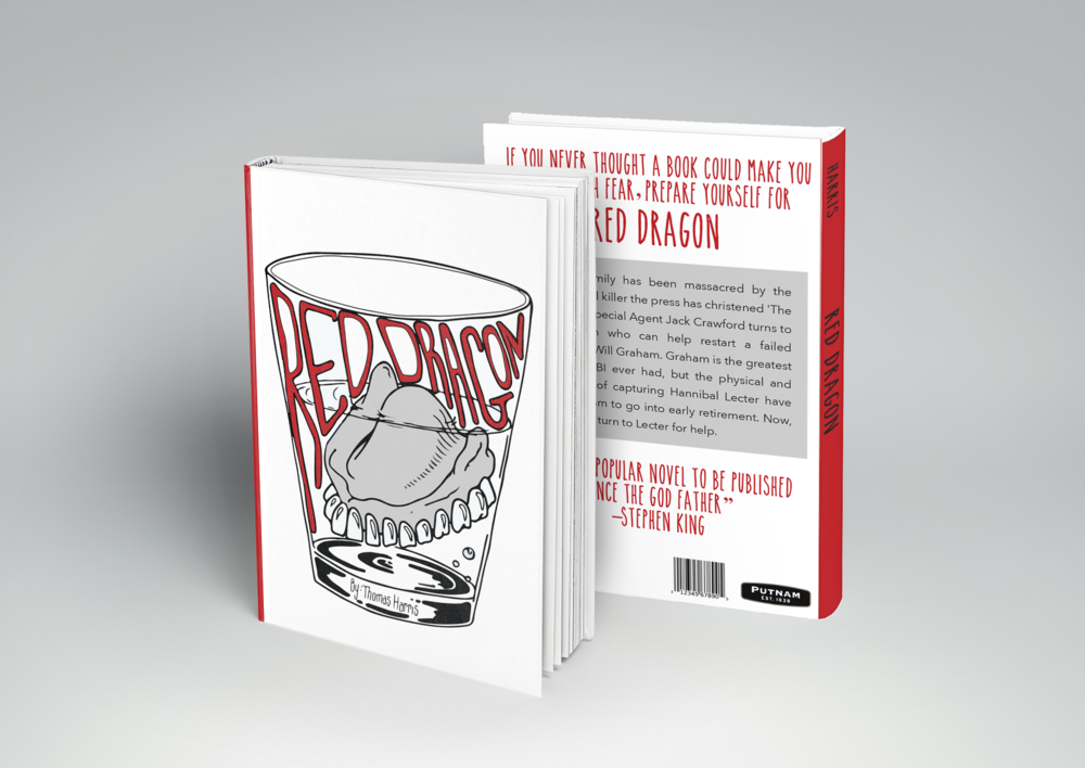 Book Cover- Red Dragon My objective was to create a new and interesting book cover design for an existing novel (Red Dragon by Thomas Harris). Using hand drawn type and basic illustration, the final piece turned out just as I had hoped.