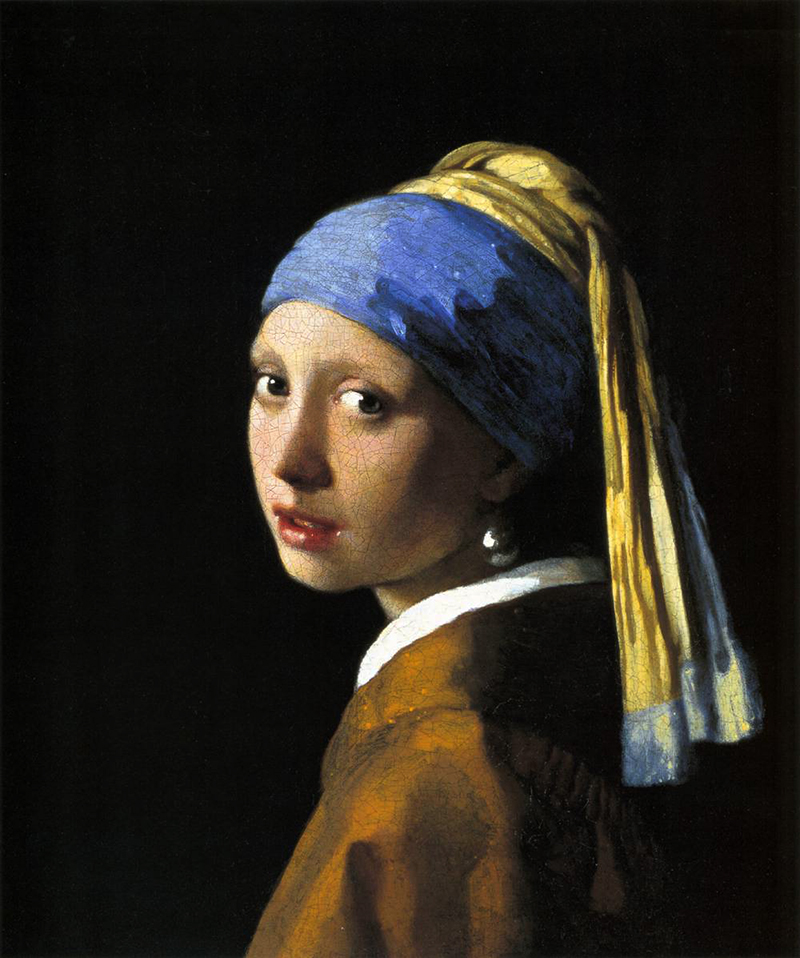 Lapis lazuli/ultramarine was used to paint model's headwrap in Girl with a Pearl Earring, by Johannes Vermeer (1665)