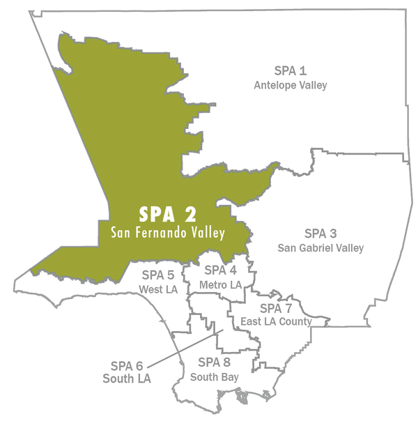 Los Angeles County is divided into eight geographic areas designated as Service Planning Areas (SPA).   LAFH is the lead agency in SPA 2, which represents approximately 1,122 square miles and 7,094 homeless persons on any given night .