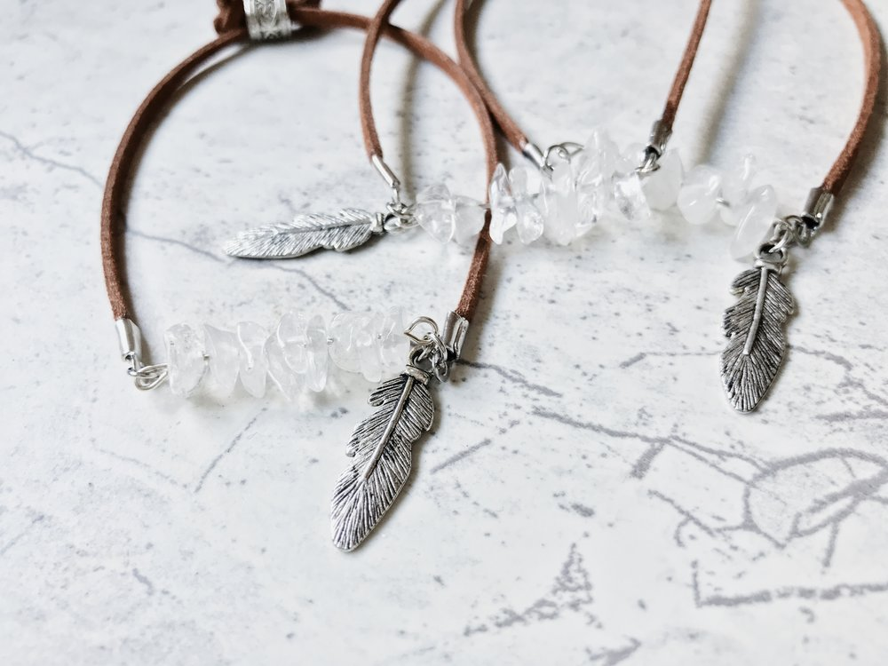 quartz feather beaded bracelet