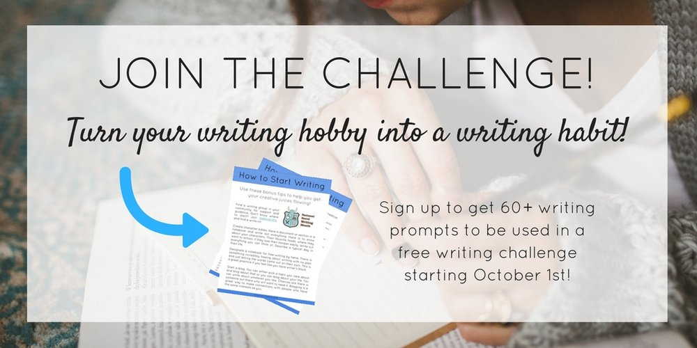 Join a free writing challenge to help you turn your writing hobby into a daily writing habit! Sign up to get access to over 60 writing prompts. | Ilona Toth Creative