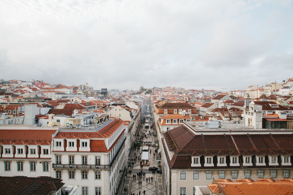View of Lisbon, from the top Arco De Augusta