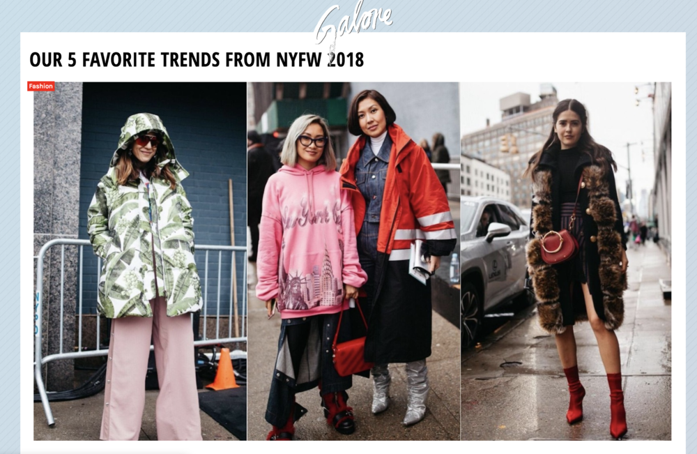 Published in Galore, e a pop culture magazine, I pitched and shot a NYFW trend spotting piece. Full article on Galore can be found  here .