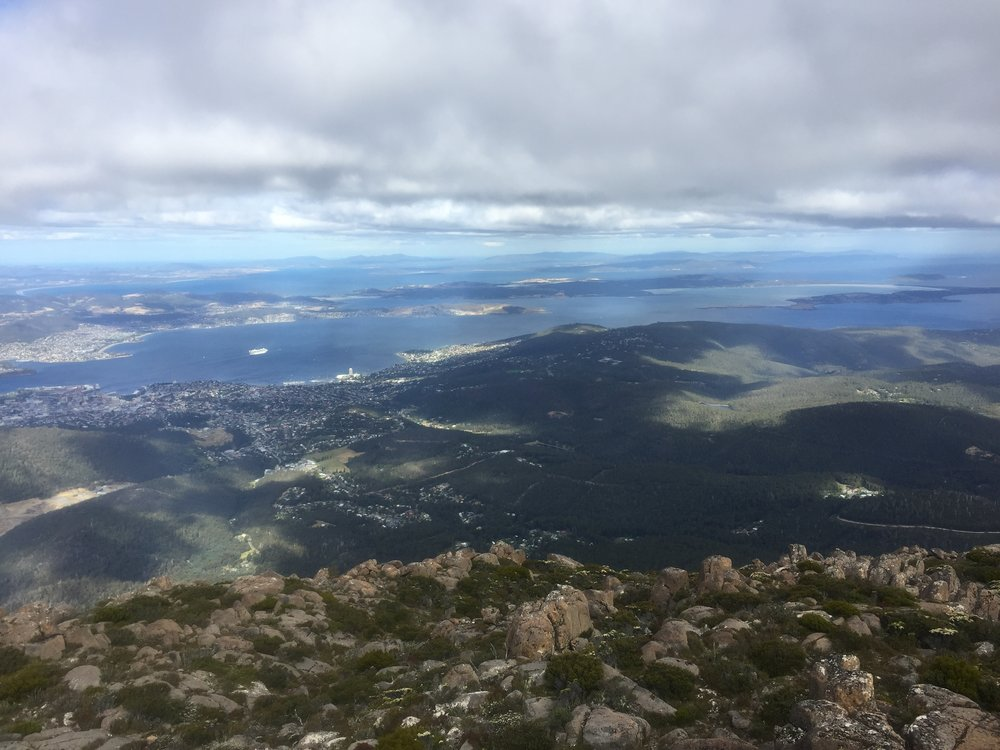 View from kunanyi / Mt. Wellington, above Hobart.