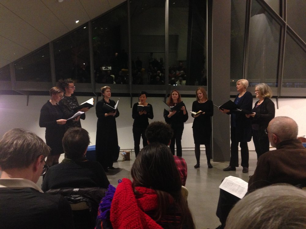 Performing  To Burst To Bloom  with Vajra Voices at the Berkeley Art Museum.