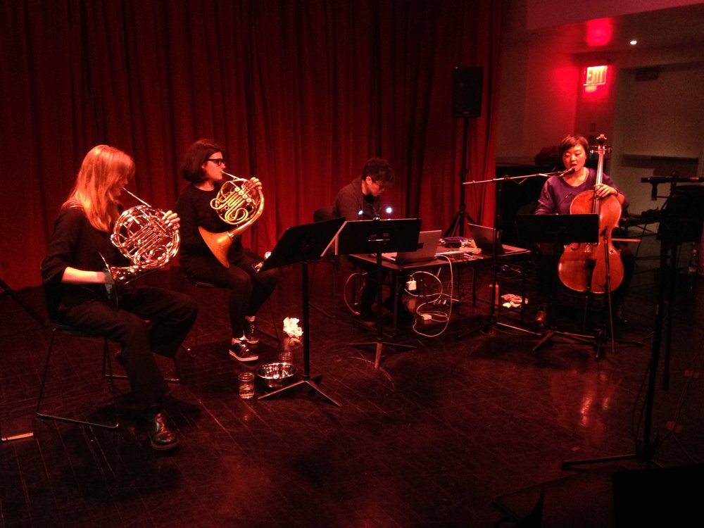 With Bergrún Snæbjörnsdóttir, Rachel Devorah (horns) and Adria Otte (electronics) performing Floating Lanterns, based on the poetry of Mercedes Roffé.