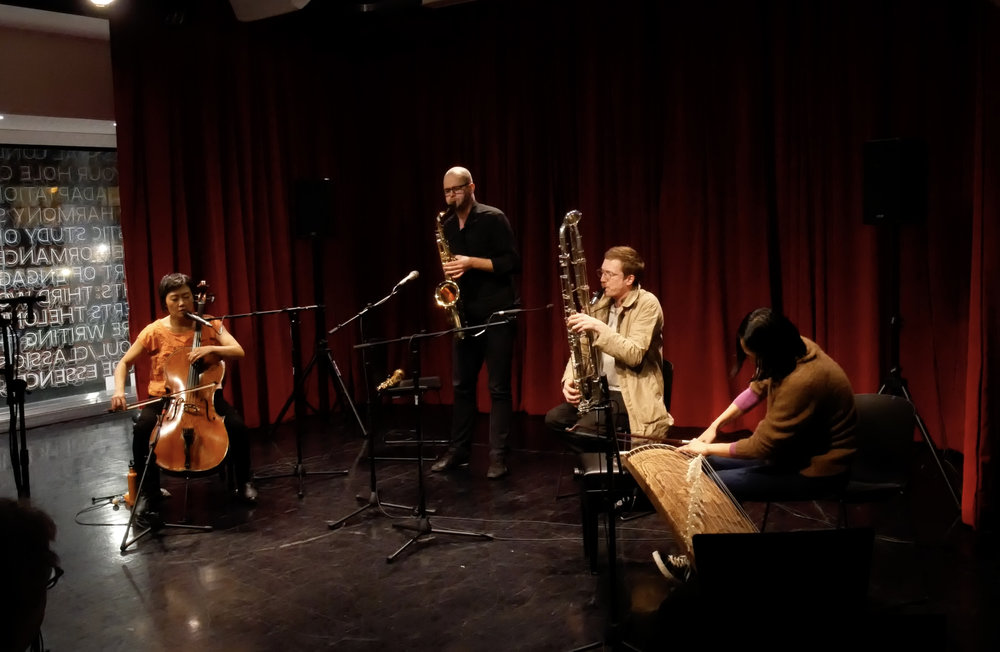 With Christian Kobi (sax), John McCowen (contrabass clarinet) and Kanoko Nishi-Smith (koto)