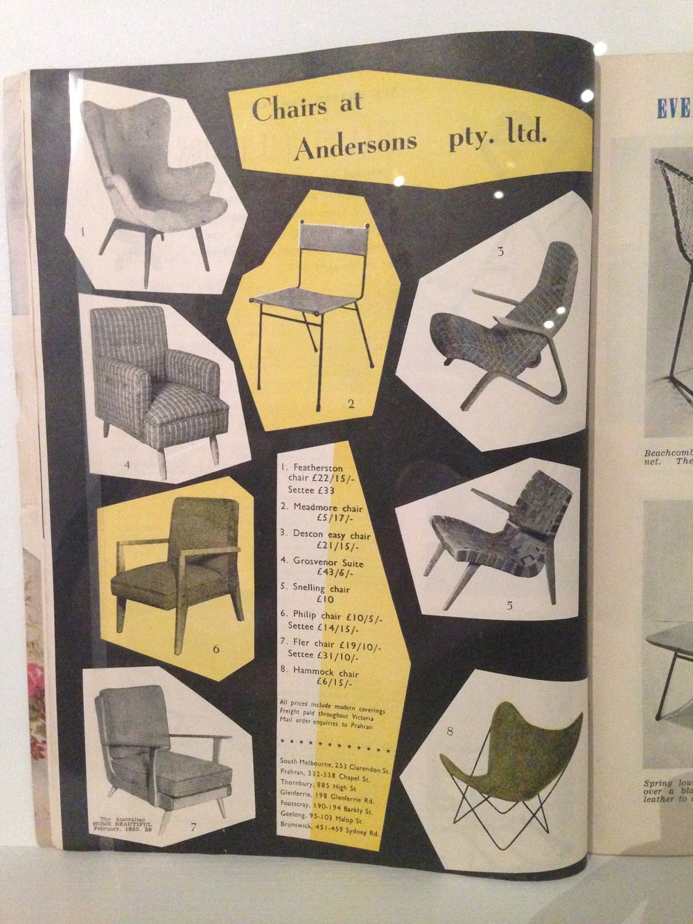 A selection of minimal Modernist chairs (Meadmore, Snelling, Featherston and a Hardoy Butterfly chair) alongside more traditional offerings. Andersons Furniture advertisement, circa 1955.