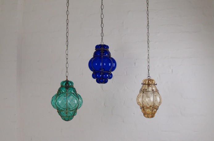 Trio of Seguso Murano caged glass lanterns in our shop archive.