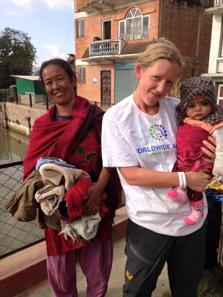 One of the babies receiving donated clothing
