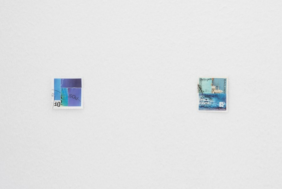 The sea is not a metaphor, 2015, postage stamps, sea salt  held in a half globe, as if by cupped hands with  Kate Meakin  at  Værelset , Copenhagen   Curated by  Kim Brockett  / Photo: David Stjernholm