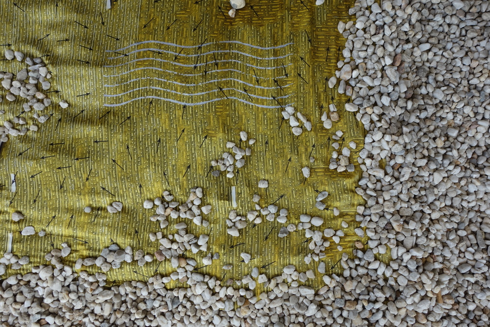 Flag of Convenience, 2015, digitally printed silk, pebbles  in  Fabrik  at the Ian Potter Museum of Art