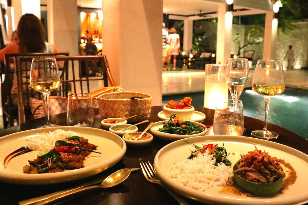 Our entree spread with all the delectable house made chili sauces and sides. I got the Roasted Duck wrapped in banana leaf and my husband got the Grilled Steak with Balinese Spices, lime and crisp shallots. Being seated right on the edge of the water, made the view quite enjoyable throughout dinner. It's the perfect spot for an easy romantic dinner for two or a nice group dinner with friends.