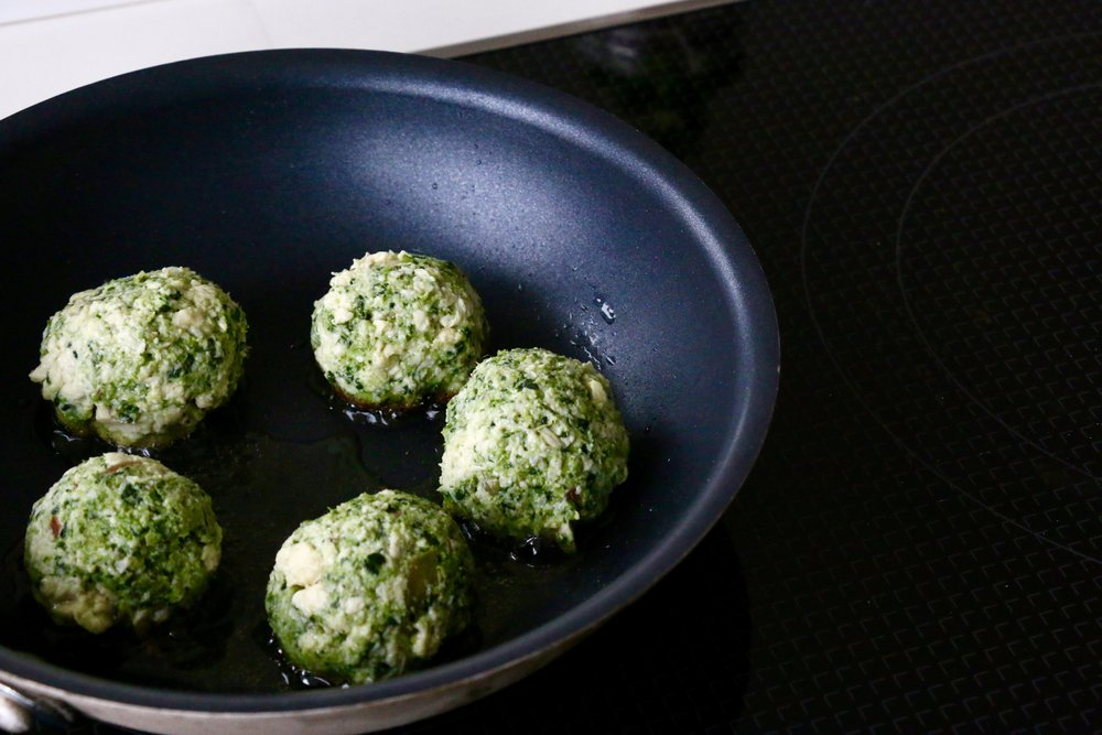 Form into small balls and start pan-frying one side