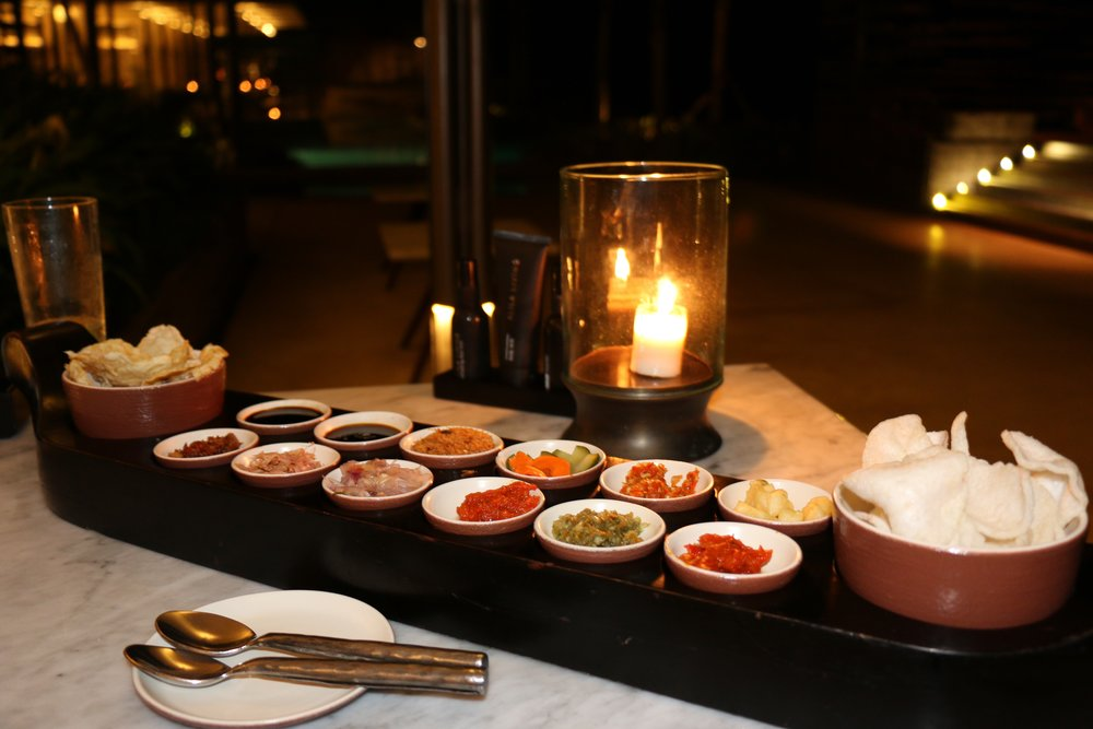 Our personal sambal and sauce selection at The Warung Restaurant , Alila Uluwatu Hotel. An absolutely stunning hotel with a fabulous restaurant.
