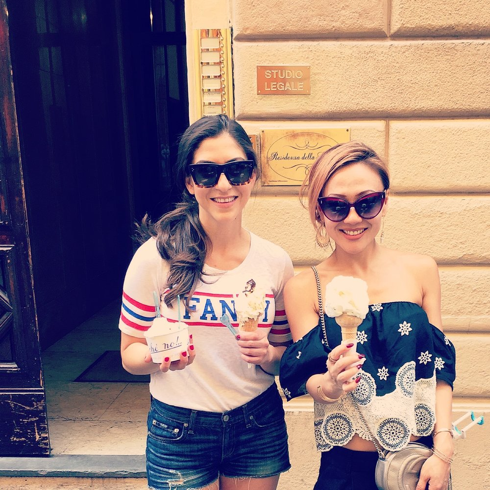 Here with my bestie during her bachelorette in Florence, holding up our prized possessions: GELATO from Perche No! Molto Buono!