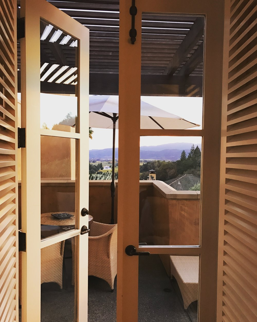 Double Doors leading to your private balcony in your room facing the wine country