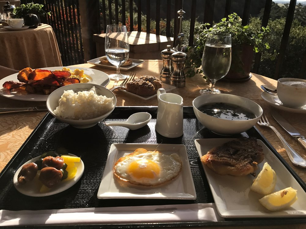 My favorite breakfast at Auberge: The Japonaise - complete with steamed rice, nori, soy, miso soup, pickled vegetables, fried egg, and panfried snapper.