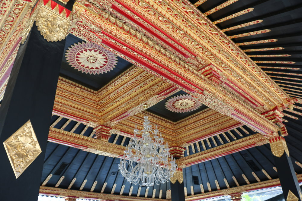 The sultan's residence which we toured in sections had an interesting mix of Javanese Architecture and European Opulence. Here you see chandeliers incorporated into their atriums.