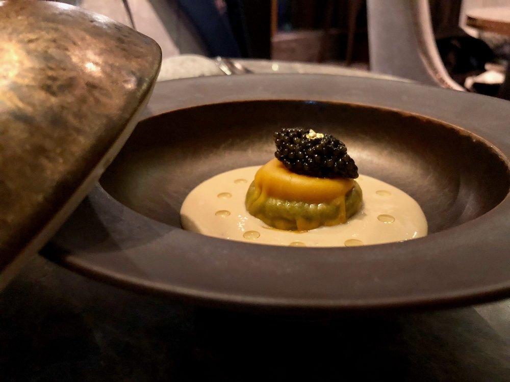Fifth Course: Taiyouran Egg, truffle, parmesan, caviar