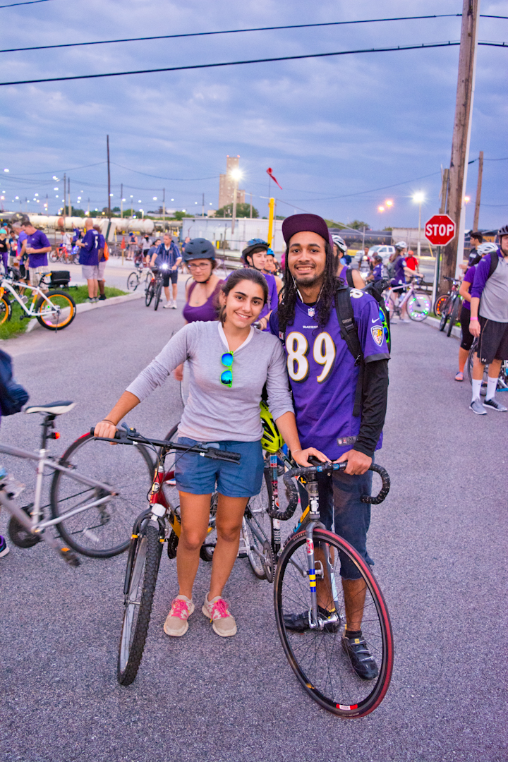 """I work for the planning department as a cyclist; whenever I'm in the Benton building and bring my bicycle into the elevator, people hit the 8th floor button for me because they already know. I can't count how many Baltimore Bike Parties I've been to, and this is my favorite one. The locals come out to see us and I get to show my girlfriend my side of the city.  I've just been taken aback by how supportive the people on the street are and how excited everyone is."""