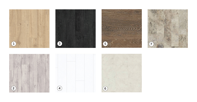 Quick-Step's Impressive laminate flooring range: 1. Sandblasted Oak Natural; 2. Concrete Wood Light Grey; 3. Burned Planks; 4. Burned Planks White. Karndean vinyl range: 5. Oak Premier 'Dusk Oak'; 6. Marble 'Fiore'; 7. Travertine 'Gallatin'.  All flooring shown is available from Hubbers Furnishings and Flooring.