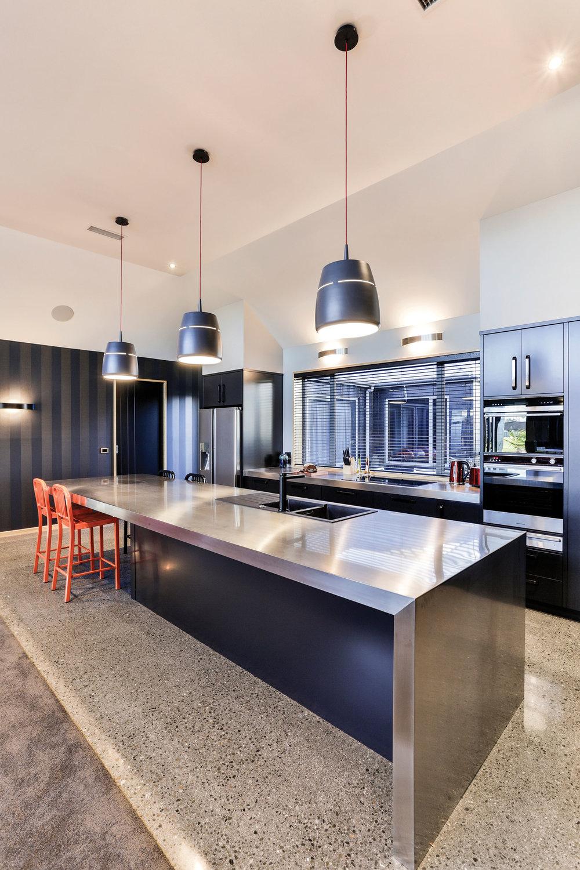 Mercer Stainless worked wth Mastercraft Kitchens Ashburton on this sleek creation.