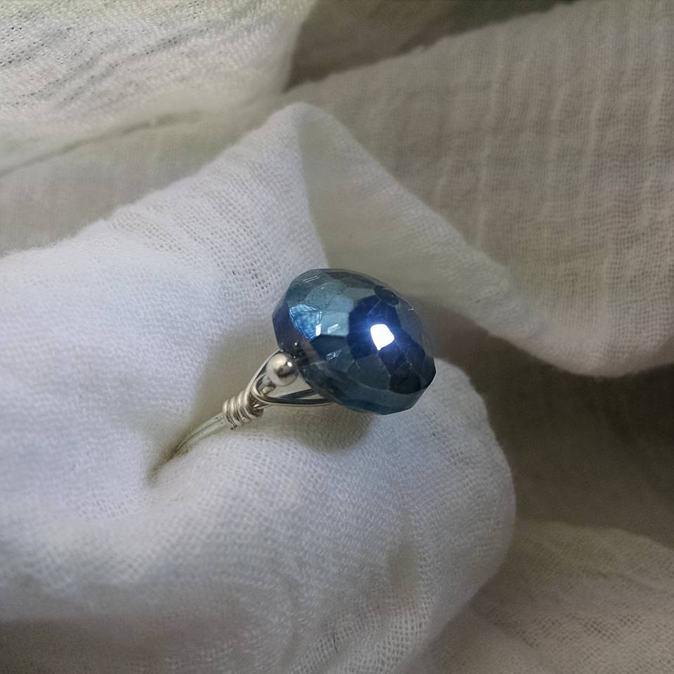 The Blue Glass Ring   $22  Made in all sizes. Silver-plated wire.   CLICK TO PURCHASE