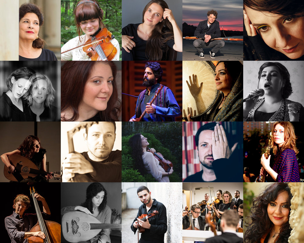 Photo collage, from left to right:  Danya Segal   ©Christian Wyrwa,   Roosmarijn Tuenter   ©Rini Scholten,   Nuria Rial   ©Merce Rial,   Bram van Sambeek   ©Rein Langeveld,   Rima Kamel  ,   Holland Baroque   ©Water Jansen,   Dima Orsho  ,   Mehdi Rostami  ,   Naghmeh Farahmand   ©Samira Hafezi,   Sara Hamidi  ,   Rima Kamel   ©Judith Buss,   Nizar Rohana   ©Mohamed Badarne,   Layale Chaker   ©Anna Rakhvalova,   Rembrandt Frerichs   ©Guido Benschop,   Tineke Postma   ©Haim Bargig,   Tony Overwater   ©Pim van der Zwaan,   Yasamin Shahhosseini  ,   Jasser Haj Youssef   ©Fabien Lemaire,   Holland Baroque  ,   Mahsa Vahdat   ©Tahmineh Monzavi.