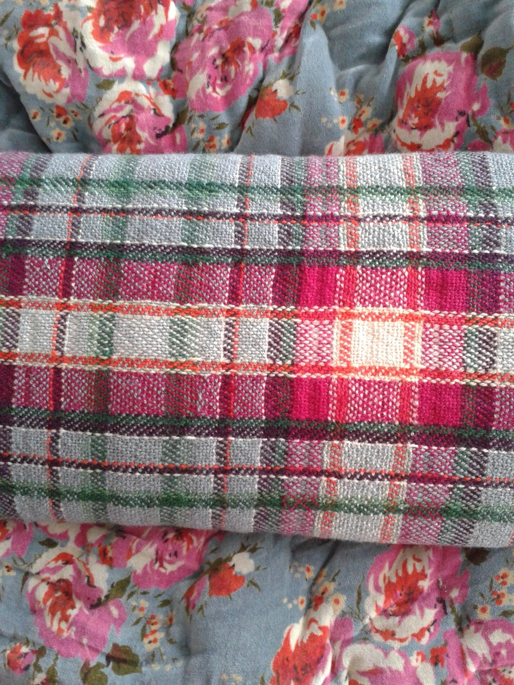 Seat cover made on commission by Jo Aylwin with the inspirational throw provided by client