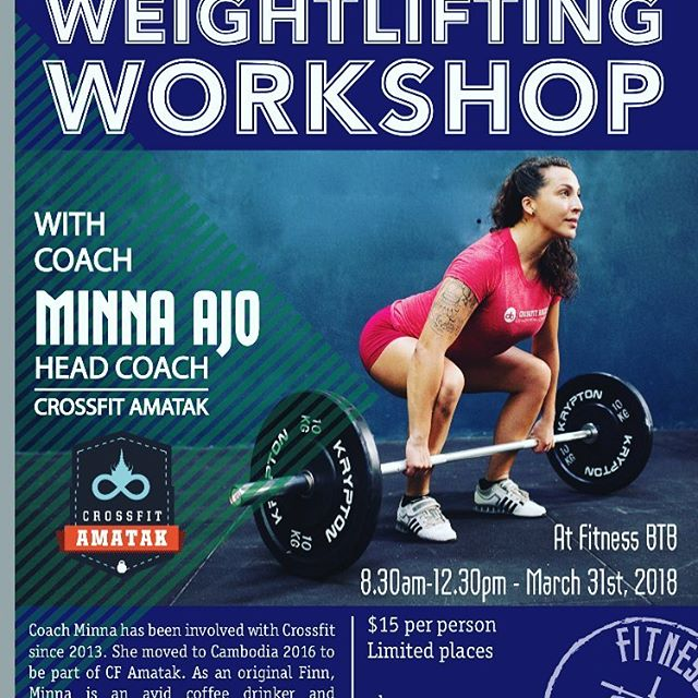 We are very excited to have @minnaajo coming up to run an#olympiclifting workshop on March 31st. Spaces are strictly limited and filling fast. Let us know if you want to come, it's going to be epic. @crossfit_amatak #cleanandjerk #snatch #finsaregoodatlifting