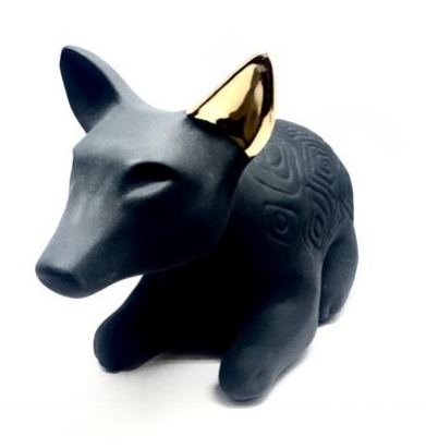 Dingo Spirit, Australian stoneware with black and gold lustre glaze
