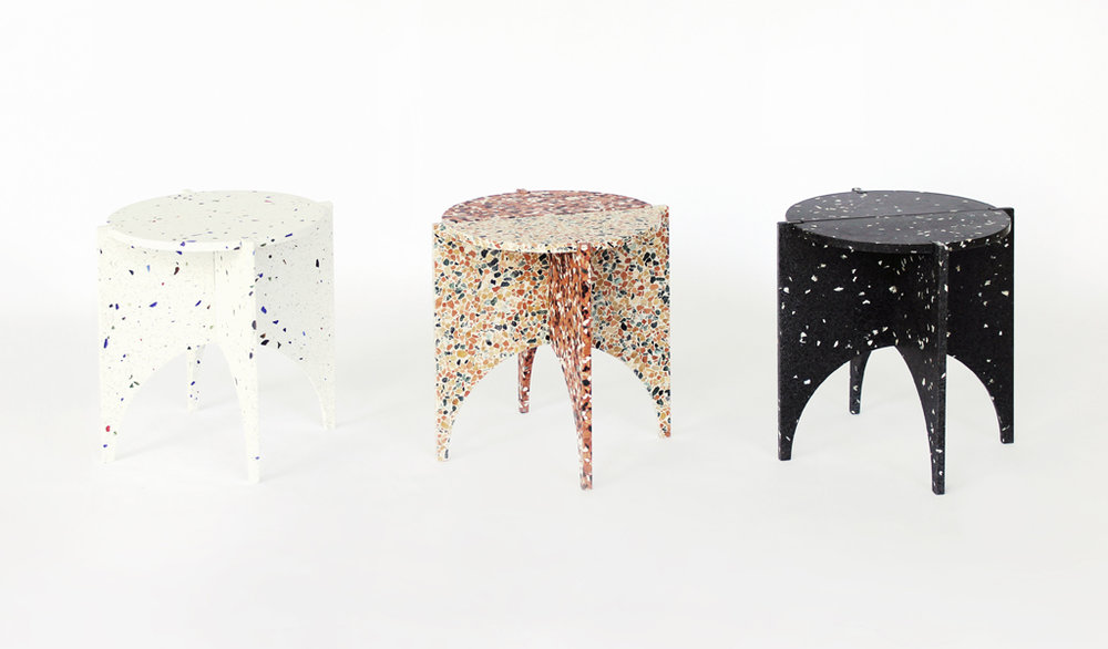 Archie  table in a range of terrazzo colours. Image by Nancy Ji.