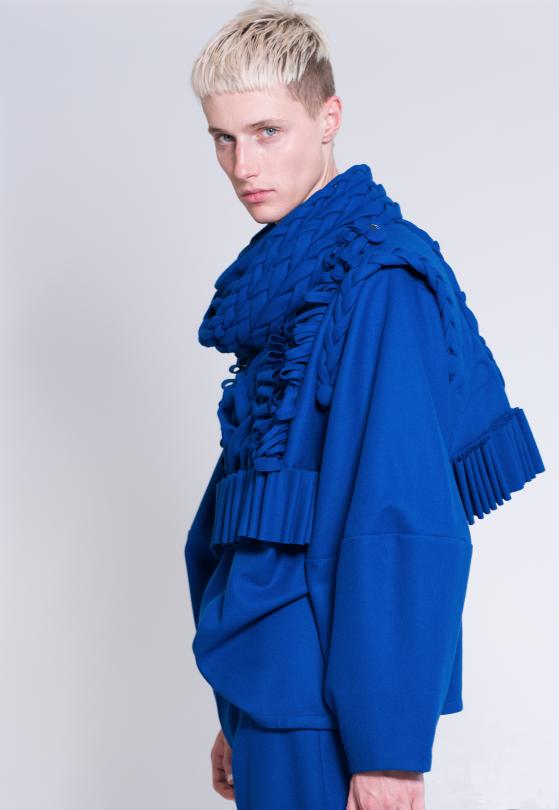 The Blue Bastard 2017, %100 wool.Photo by Zalina Rosli. Model: Louis Cooper (DUVAL Agency)