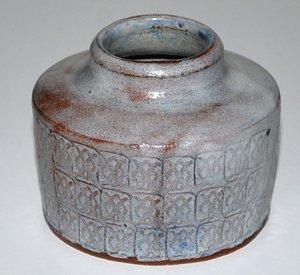 Gudrun Meedom Baech, hard fired earthenware, in her studio Denmark 1958