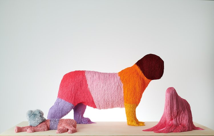 Troy Emery, L - R,  lilac layabout , 2018, polyurethane, rayon, lurex, pins, adhesive, 260 x 680 x 430mm;  pink banded beast,  2018, polyester, polyurethane, pins, adhesive, 940 x 160 x 570mm;  second lump,  2018, polyurethane, polyester, pins, adhesive, 520 x 660 x 370mm. Photo: Fred Kroh
