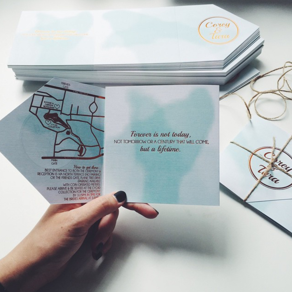 MINT + COPPER FOIL FOLDING INVITATIONS
