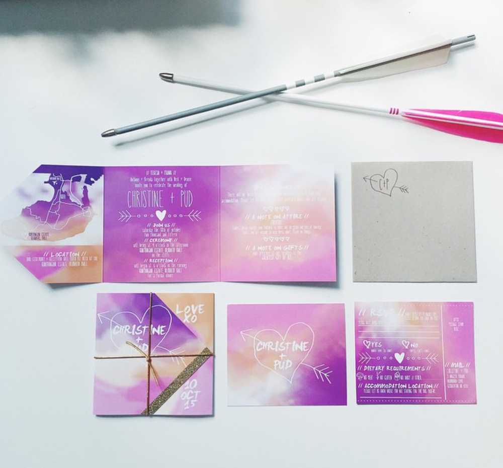 PINK WATERCOLOUR + GOLD FOLDING INVITATIONS