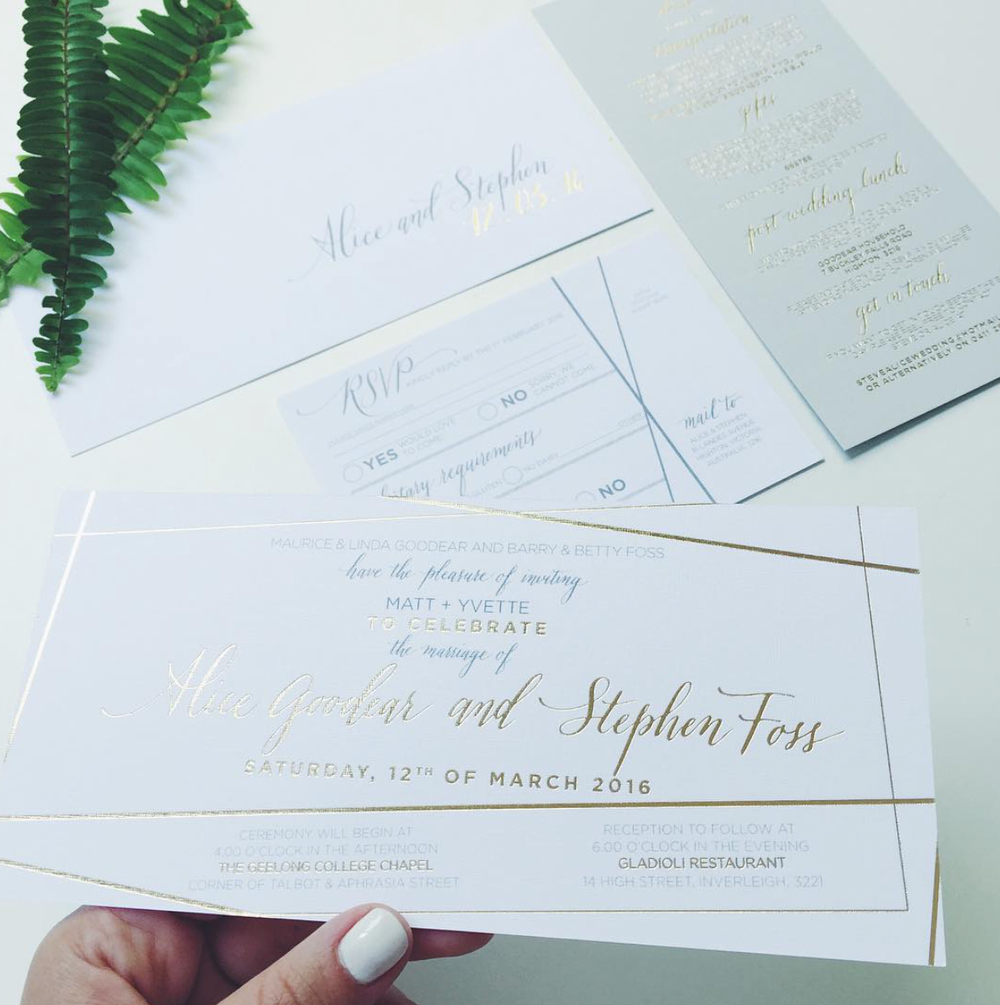 GEO + GOLD FOIL + GREY WEDDING SET