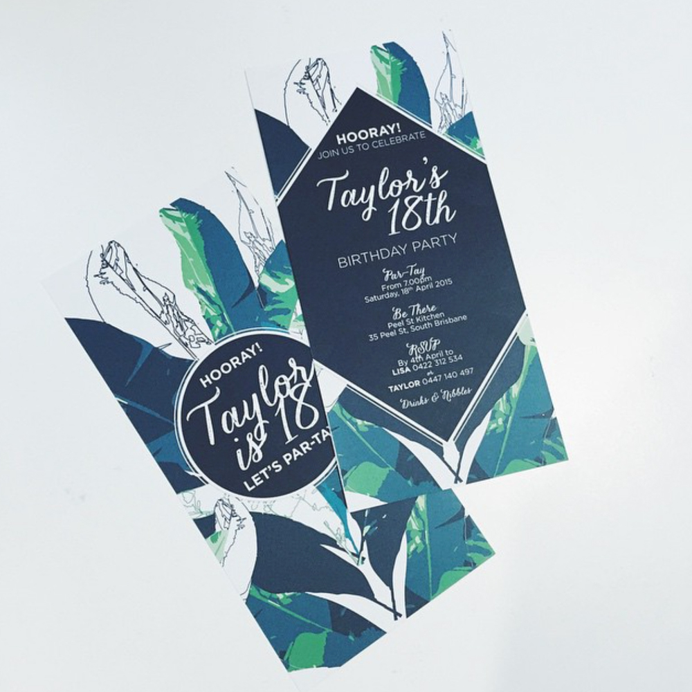 JUNGLE LEAF B'DAY INVITATION