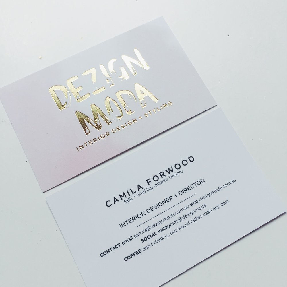 GOLD FOIL + WATERCOLOUR BUSINESS CARD