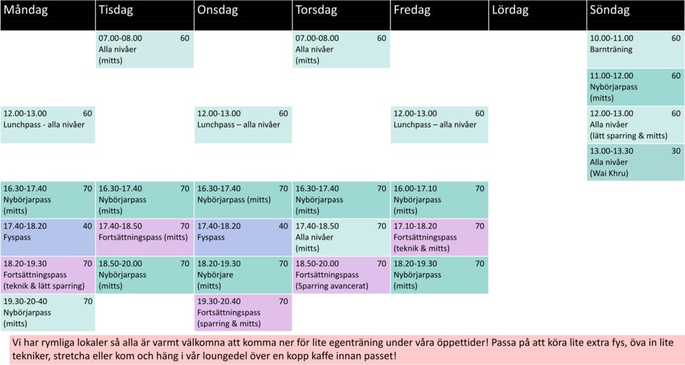 Nya schemat, fr.o.m. vecka 40