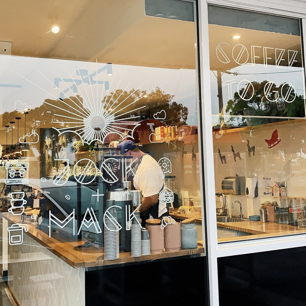 Appropriate logo, icon, menu and signage design was crafted to work well with their beautiful shop front - projecting their fun, coffee loving vibe. -