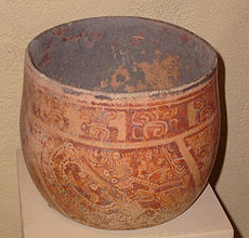 Maya vase depicting a costumed noble; burial offering. Late classical period (600-900 CE).  .