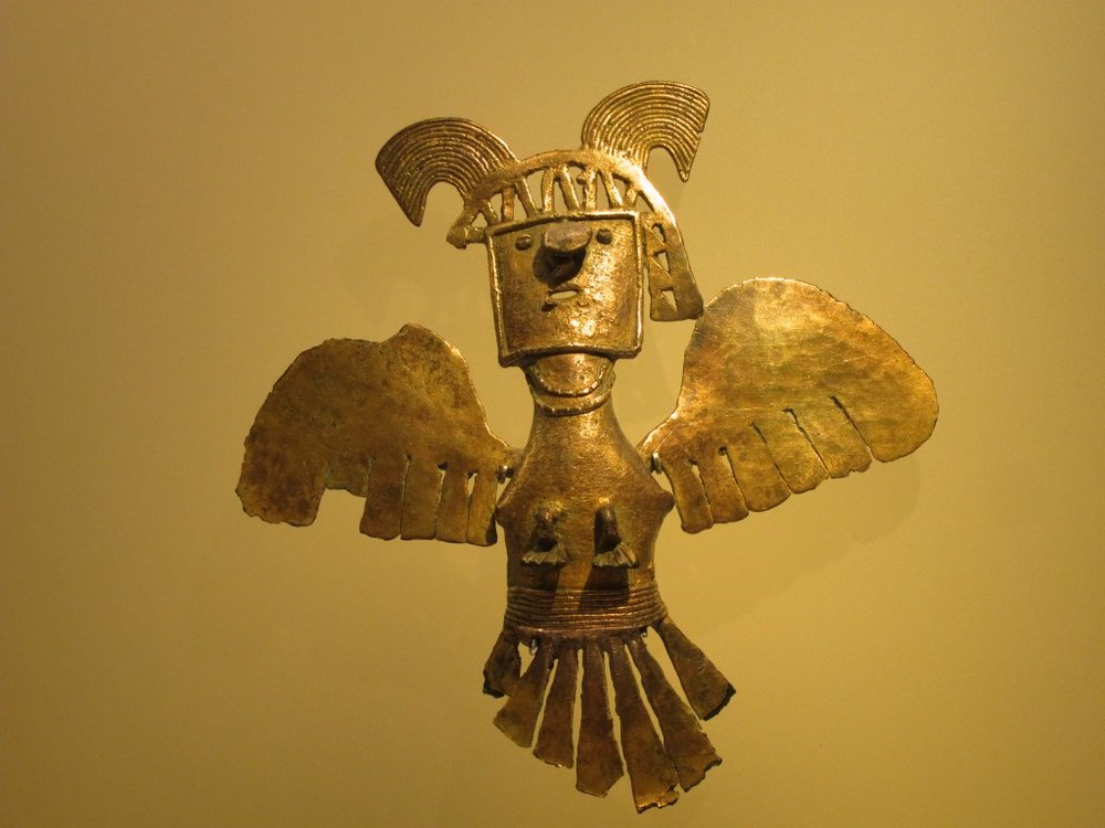 Pre-Colombian shaman in the form of a bird, created by lost-wax casting with tumbaga, circa 1200 B.C.E.