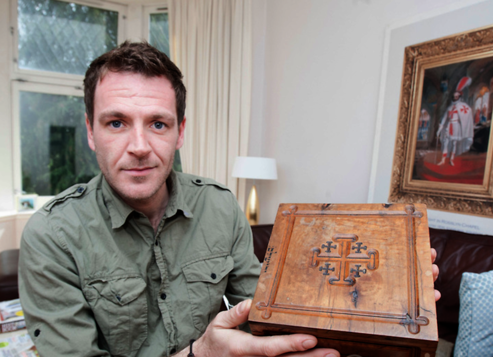 Ashley with his wooden Jerusalem Bible box displaying the Jerusalem Cross.