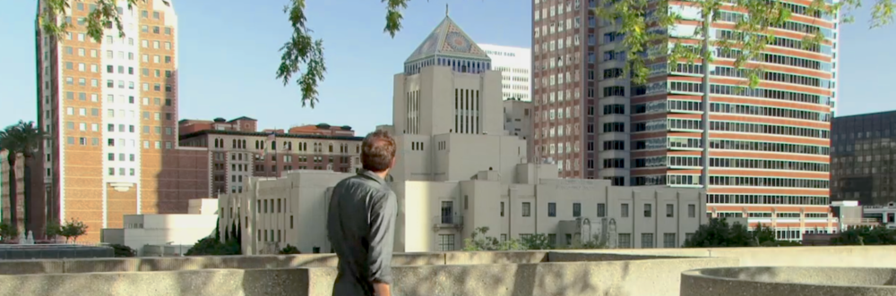 Ashley Cowie examining the LA Central Library.