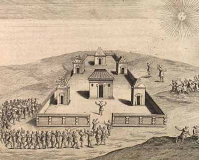 16th century Spanish drawing of the Coracancha Temple of the Sun.