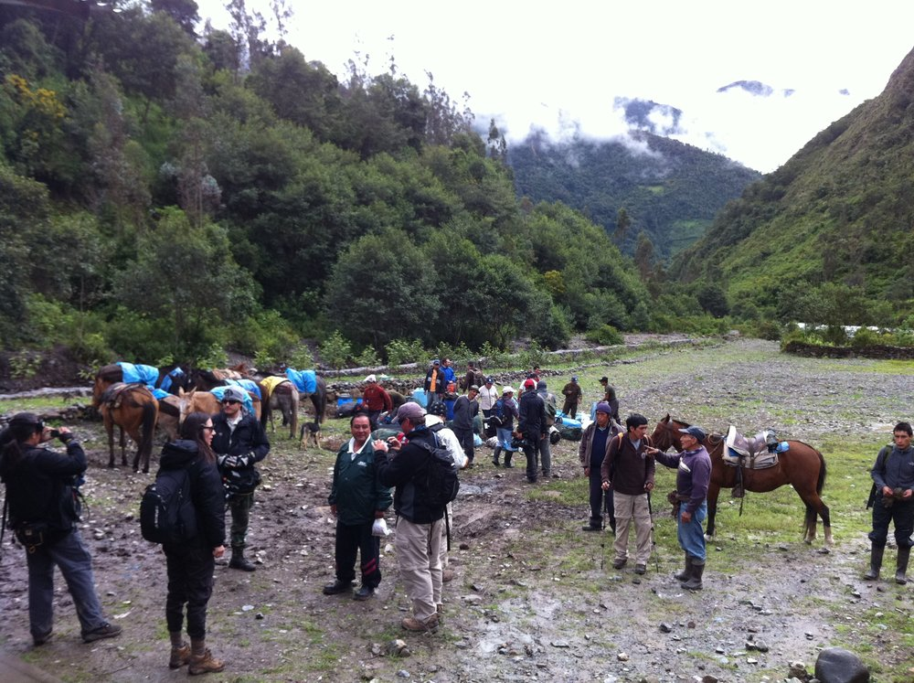 Our expedition crew rallying together at the foothills of the Vilcabamba region.