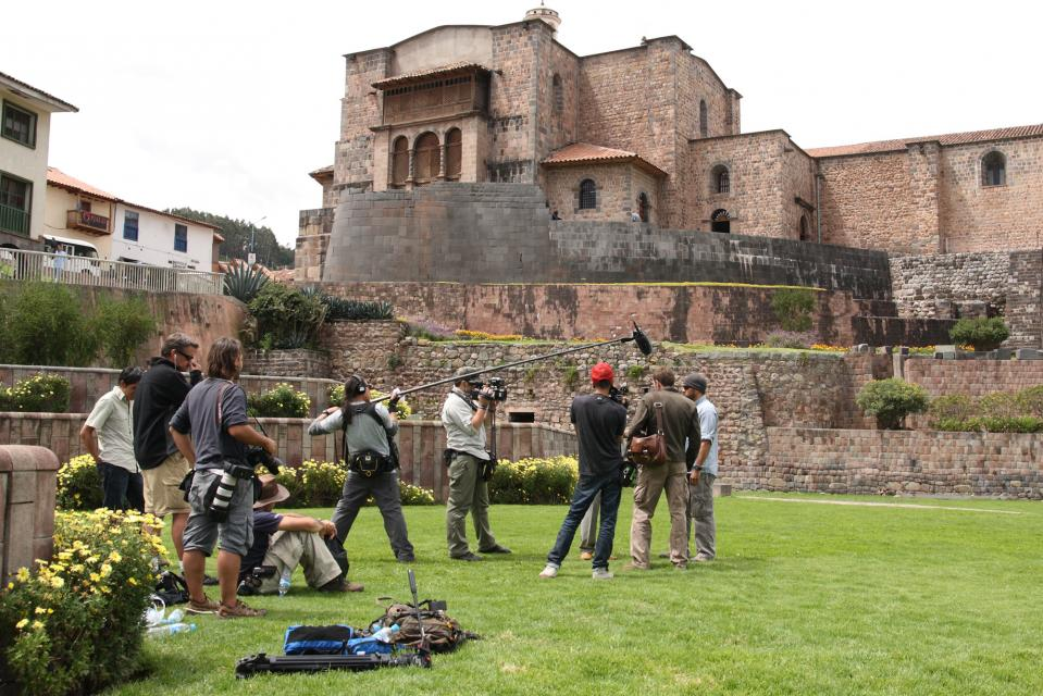 Filming an interview with the lead archeologist at the Temple of the Sun, Cuzco.